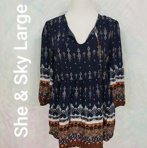 She & Sky peasant boho tunic blouse sz large